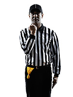 american football referee gestures facemask in silhouette on white background