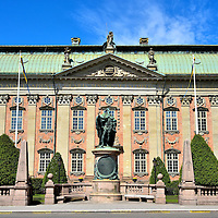 """Gustav I Statue in Front of Riddarhuset in Stockholm, Sweden <br /> In 1774, Pierre Hubert Larchevêque created the statue of Gustav I in front of the Riddarhuset which is also called the House of Nobility.  Gustaf Eriksson Vasa led the Swedish War of Liberation against Denmark in the early 16th century.  After his victory, he was king from 1523 until 1560.  Many consider him to be the father of today's Sweden.  The Latin inscription on the House of Nobility's pediment reads, """"After the clear example of forefathers."""""""