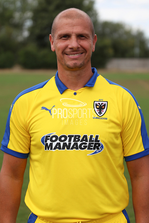 AFC Wimbledon assistant coach Neil Cox during the AFC Wimbledon 2018/19 official photocall at the Kings Sports Ground, New Malden, United Kingdom on 31 July 2018. Picture by Matthew Redman.
