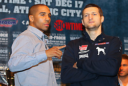 Dec 13; New York, NY, USA; Andre Ward (left) and Carl Froch (right) pose at the final press conference for their fight.  The two will meet at Boardwalk Hall in Atlantic City, NJ on Saturday, December 17, 2011.