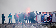 FODBOLD: Fans med romerlyd under træningskampen mellem Helsingborgs IF og FC Helsingør den 26. januar 2019 på Vikvalla i Viken, Sverige Foto: Claus Birch
