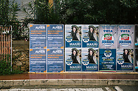 SANTA MARIA DI CASTELLABATE (CASTELLABATE), ITALY - 14 FEBRUARY 2018: Electoral posters are seen here in Santa Maria di Castellabate (Castellabate), Italy, on February 14th 2018.<br /> <br /> Santa Marina di Castellabate is part of the electoral college of Agropoli, in the Campania region (southern Italy) in which Franco Alfieri (Democratic Party, PD, Partito Democratico), politically active for the past 30 years, is running agains the 28-years old Alessia d'Alessandro (Five Stars Movement, M5S, Movimento 5 Stelle).<br /> <br /> The 2018 Italian general election is due to be held on 4 March 2018 after the Italian Parliament was dissolved by President Sergio Mattarella on 28 December 2017.<br /> Voters will elect the 630 members of the Chamber of Deputies and the 315 elective members of the Senate of the Republic for the 18th legislature of the Republic of Italy, since 1948.Santa<br /> <br /> The 2018 Italian general election is due to be held on 4 March 2018 after the Italian Parliament was dissolved by President Sergio Mattarella on 28 December 2017.<br /> Voters will elect the 630 members of the Chamber of Deputies and the 315 elective members of the Senate of the Republic for the 18th legislature of the Republic of Italy, since 1948.
