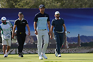 Martin Kaymer (GER), Adrien Saddier (FRA) and Kalle Samooja (FIN) on the 17th during Round 4 of the Oman Open 2020 at the Al Mouj Golf Club, Muscat, Oman . 01/03/2020<br /> Picture: Golffile | Thos Caffrey<br /> <br /> <br /> All photo usage must carry mandatory copyright credit (© Golffile | Thos Caffrey)