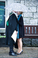 NUI,Galway Honors Bachelor of Arts Degree graduate gets a private congratulations from a friend. Photo:Andrew Downes.