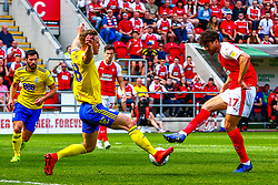 Matt Crooks of Rotherham United shoots at goal to give Rotherham United the lead - Mandatory by-line: Ryan Crockett/JMP - 22/04/2019 - FOOTBALL - Aesseal New York Stadium - Rotherham, England - Rotherham United v Birmingham City - Sky Bet Championship