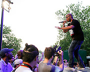 Raydar Ellis performs during the 75th Anniversary of Blue Note Records concert in association with Revive Music celebrating 15 years of Okayplayer at SummerStage in Rumsey Playfield in New York City, NY on August 3, 2014.