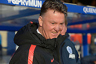 Manchester United Manager Louis van Gaal laughing after speaking to Harry Redknapp, manager of QPR before k/o. Barclays Premier league match, Queens Park Rangers v Manchester Utd at Loftus Road in London on Saturday 17th Jan 2015. pic by John Patrick Fletcher, Andrew Orchard sports photography.