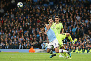 Manchester City midfielder Ilkay Gundogan (8) and \d30 tangle in the box  during the Champions League match between Manchester City and Dinamo Zagreb at the Etihad Stadium, Manchester, England on 1 October 2019.