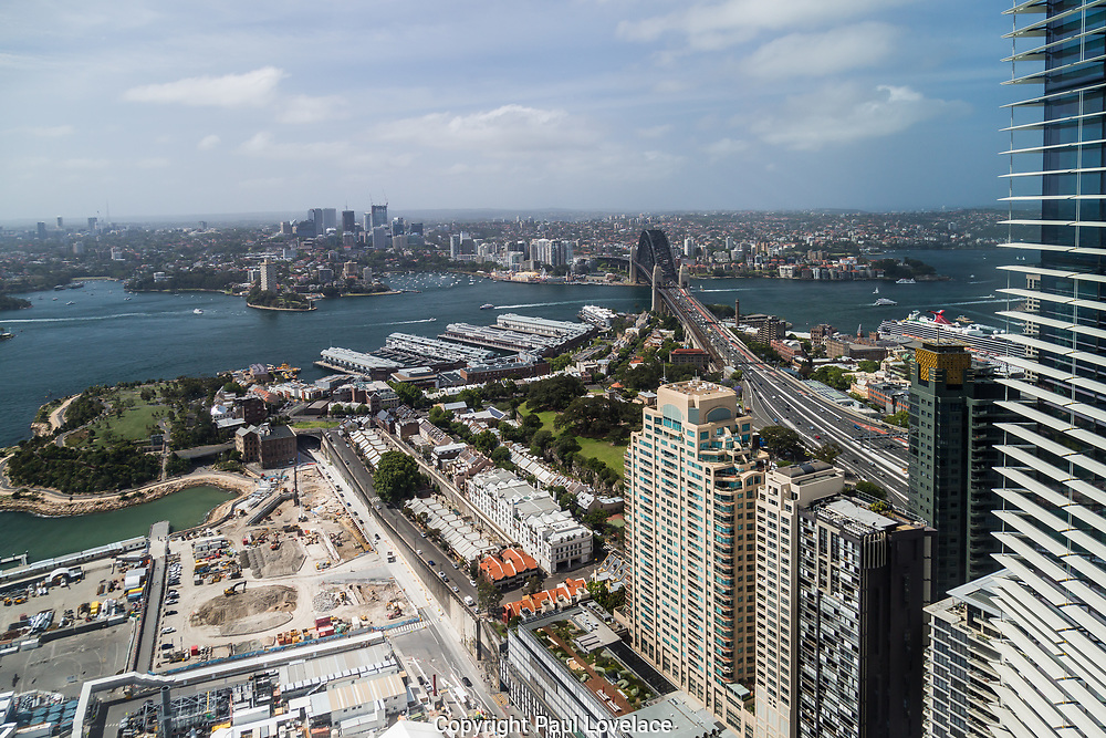 Open Sydney presented by Sydney Living Museuems. This event every year allows Sydneysiders to visit 40 of the city's most significant buildings and spaces across the CBD.Views of Crown Sydney Hotel and Resort under contsruction from One International Towers, Sydney.