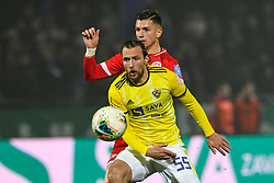 Spiro Pericic of Maribor and Mihael Klepac of Aluminij during football match between NK Aluminij and NK Maribor in 18th Round of Prva liga Telekom Slovenije 2019/20, on November 24, 2019 in Sportni park Aluminij, Kidricevo Slovenia. Photo by Milos Vujinovic / Sportida