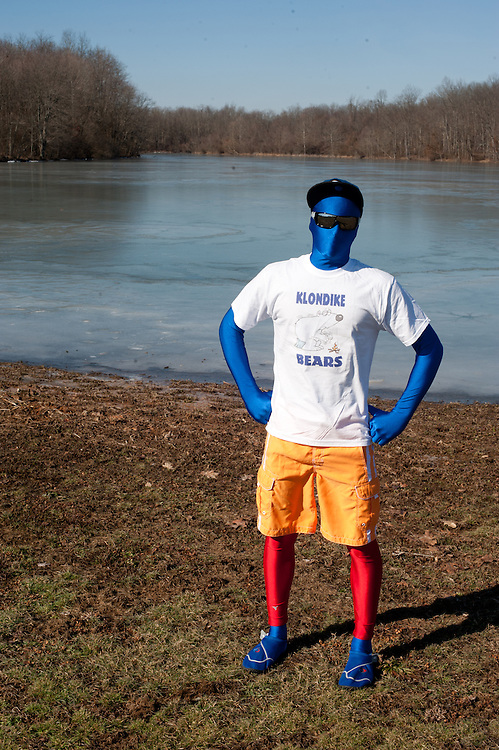Brady Carpenter poses for a portrait in his costume before the Ohio University Polar Plunge. Carpenter was an entrant in the Polar Plunge costume contest, which was held before the plunge itself. Photo by: Ross Brinkerhoff.