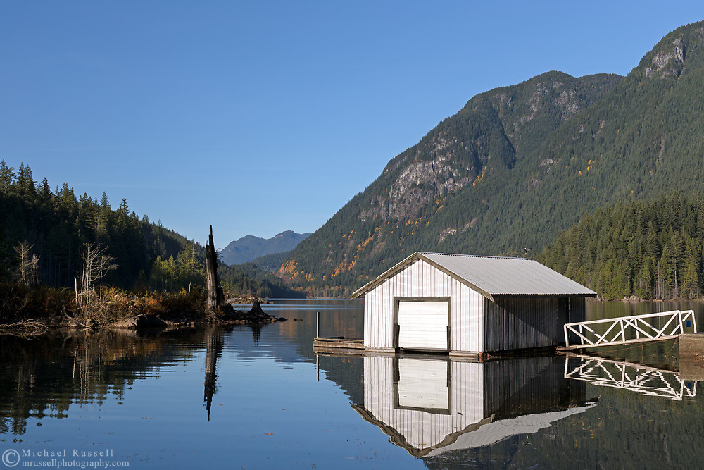 The boat house near the day use area at Buntzen Lake just north of Port Moody and the Village of Anmore - British Columbia, Canada. Photographed from the Energy Trail.