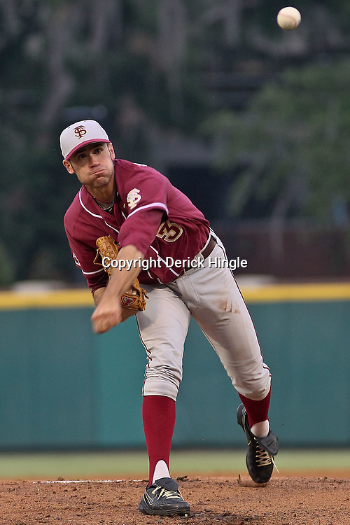 June 04, 2011; Tallahassee, FL, USA; Florida State Seminoles starting pitcher Sean Gilmartin (3) warms up before the first inning of the Tallahassee regional of the 2011 NCAA baseball tournament against the Alabama Crimson Tide at Dick Howser Stadium. Mandatory Credit: Derick E. Hingle