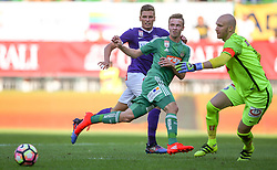 07.08.2016, Ernst Happel Stadion, Wien, AUT, 1. FBL, FK Austria Wien vs SK Rapid Wien, 3. Runde, im Bild Jens Stryger Larsen (FK Austria Wien), Philipp Schobesberger (SK Rapid Wien) und Robert Almer (FK Austria Wien) // during Austrian Football Bundesliga Match, 3rd Round, between FK Austria Vienna and SK Rapid Vienna at the Ernst Happel Stadion, Vienna, Austria on 2016/08/07. EXPA Pictures © 2016, PhotoCredit: EXPA/ Thomas Haumer