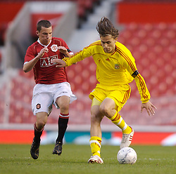Manchester, England - Thursday, April 26, 2007: Liverpool's Astrit Ajdarevic and Manchester United's Daniel Drinkwater during the FA Youth Cup Final 2nd Leg at Old Trafford. (Pic by David Rawcliffe/Propaganda)