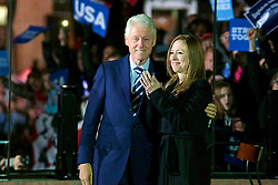 Chelsea Clinton and former US President Bill Clint share the stage at the final rally of Democratic Presidential candidate Hillary Clinton, on November 7, 2016, at Independence Hall, in Philadelphia, PA., USA. The same city her campaign started in, also provides the final stage for Clinton as she is joined by her family and Michelle and Barrack Obama.
