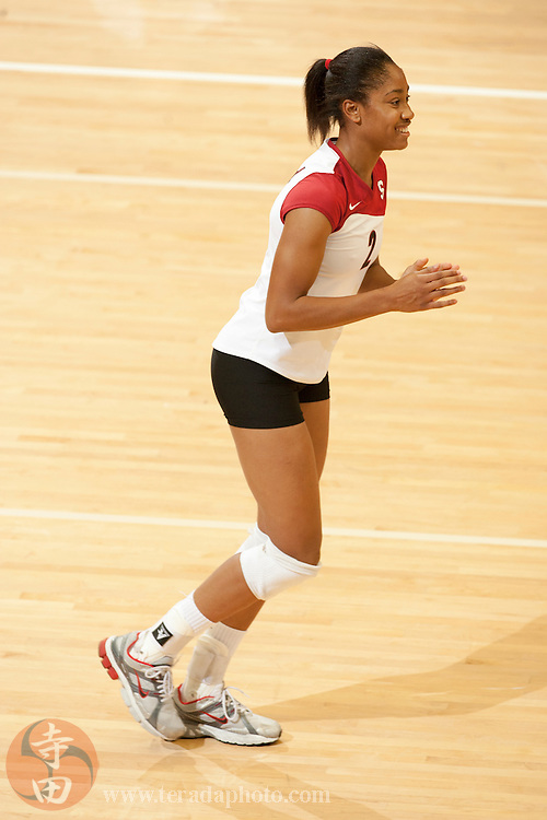 November 25, 2006; Stanford, CA, USA; Stanford Cardinal middle blocker Janet Okogbaa (2) during the game against the Washington State Cougars at Maples Pavilion. The Cardinal defeated the Cougars 30-27, 30-23, 30-18.
