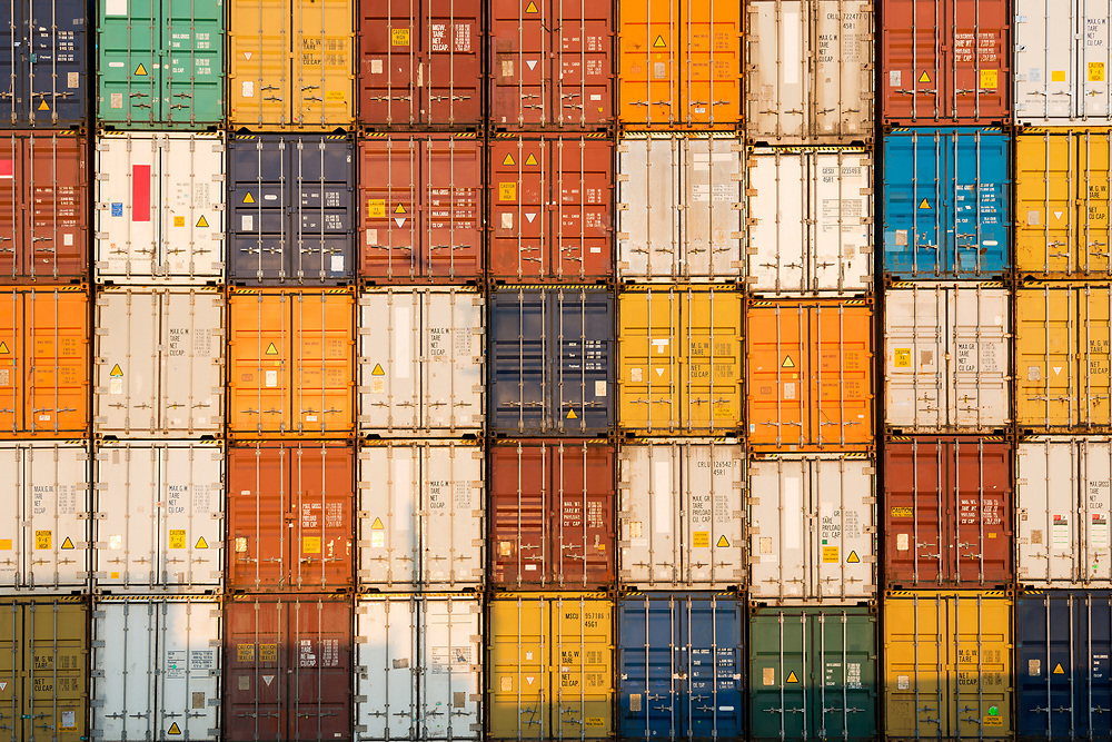 frontal view of a Stack of containers