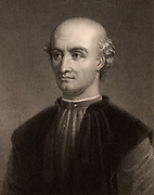 Donato Lazzari Bramante (1444-1514) Italian architect and painter.  Engraving from 'The Gallery of Portraits' Vol VI  by Charles Knight (London, 1836).