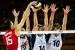 10.09.2014, Century Hall st. Wystawowa 1, Breslau, POL, FIVB WM, Finnland vs Russland, im Bild Dmitriy Ilinykh russia #15 Olli Kunnari finland #12 Konstantin Shumov finland #14 Urpo Sivula finland #10 // during the FIVB Volleyball Men's World Championships Pool A Match beween Finland and Russia at the Century Hall st. Wystawowa 1 in Breslau, Poland on 2014/09/10. EXPA Pictures © 2014, PhotoCredit: EXPA/ Newspix/ Sebastian Borowski<br /> <br /> *****ATTENTION - for AUT, SLO, CRO, SRB, BIH, MAZ, TUR, SUI, SWE only*****