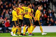 Michy Batshuayi (#23) of Belgium celebrates Belgium's third goal (0-3) during the International Friendly match between Scotland and Belgium at Hampden Park, Glasgow, United Kingdom on 7 September 2018.
