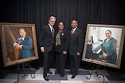 Ohio University President Roderick McDavis and his wife, Deborah McDavis, along with the artist, Robert Hartshorn who painted their portraits, at an unveiling ceremony held at the newly renovated McCracken Hall on February 9, 2017.