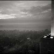 The Last of the ESB's old light fixtures.  In November 2012, the Empire State Building (ESB) replaced its traditional light fixtures.  This black and white image was made with Kodak Tri-X  320 at dusk, just after the lights turned on.