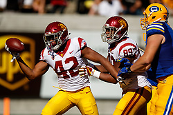 BERKELEY, CA - SEPTEMBER 23:  Linebacker Uchenna Nwosu #42 of the USC Trojans celebrates after recovering a fumble during the fourth quarter against the California Golden Bears at California Memorial Stadium on September 23, 2017 in Berkeley, California. The USC Trojans defeated the California Golden Bears 30-20. (Photo by Jason O. Watson/Getty Images) *** Local Caption *** Uchenna Nwosu