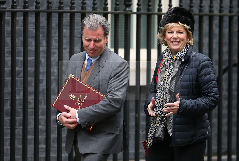 © Licensed to London News Pictures. 01/12/2015. London, UK Chancellor of the Duchy of Lancaster OLIVER LETWIN (L) arrives for a Cabinet meeting with Minister for Small Business, Industry and Enterprise ANNA SOUBRY ahead of a vote in Parliament on bombing IS targets in Syria. Photo credit: Peter Macdiarmid/LNP