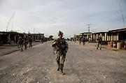 Lieutenant Dan Rix leads the 82nd Airborne's 1/508, Alpha Co., Third Platoon through Sangin, Helmand province, Afghanistan on Saturday, April 7, 2007.