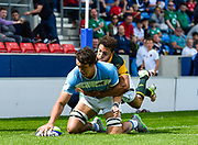 Argentina's Mariano Romanini scores a try during the World Rugby U20 Championship 3rd Place play-off  match Argentina U20 -V- South Africa U20 at The AJ Bell Stadium, Salford, Greater Manchester, England on Saturday, June 25, 2016.(Steve Flynn/Image of Sport)