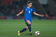 Jessica Houara (France) runs with the ball during the International Friendly match between England Women and France Women at the Keepmoat Stadium, Doncaster, England on 21 October 2016. Photo by Mark P Doherty.
