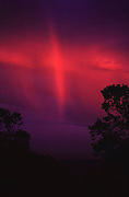 Weather: Napa, California - rainbow at sunset. Rainbows occur when the observer is facing falling rain but with the Sun behind them. White light is reflected inside the raindrops and split into its component colors by refraction. (1985)