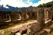 PERU, HIGHLANDS, PREHISPANIC, INCA Machu Picchu; the ancient city with the Temple of the Three Windows in the  Sacred Precinct