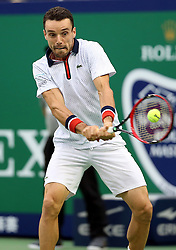 SHANGHAI, Oct. 15, 2016  Spain's Roberto Bautista returns the ball during the men's singles semifinal against Novak Djokovic of Serbia at the Shanghai Masters tennis tournament in Shanghai, east China, Oct. 15, 2016. Roberto Bautista won 2-0.  wll) (Credit Image: © Fan Jun/Xinhua via ZUMA Wire)