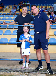 Mascot with Wael Al-Qadi president of Bristol Rovers FC and Bristol Rovers manager Darrell Clarke - Mandatory by-line: Robbie Stephenson/JMP - 18/07/2017 - FOOTBALL - Estadio da Nora - Albufeira,  - Hull City v Bristol Rovers - Pre-season friendly