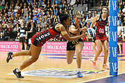 Tactix goal keep Temalisi Fakahokotau and Magic goal shoot Lenize Potgieter compete for the ball during the ANZ Premiership netball match - Magic v 170529 ANZ Premiership - Magic v Tactix played at Claudelands Arena, Hamilton, New Zealand on Monday 29 May 2017. Copyright photo: Bruce Lim / www.photosport.nz