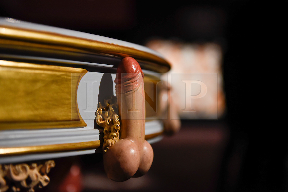 "© Licensed to London News Pictures. 10/02/2017. London, UK.  Detail from ""A Modern Table"", supposedly delivered to Catherine the Great (est. GBP15-20k) on display at the preview of the ""Erotic: Passion & Desire"" sale at Sotheby's in New Bond Street.  The sale, which will take place on 16 February, encompasses representations of love and sex from antiquity to the present day.  Photo credit : Stephen Chung/LNP"