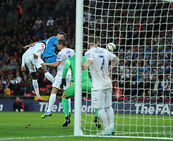 Samir Handanovic of Slovenia heads close early in the first half. - Photo mandatory by-line: Alex James/JMP - Mobile: 07966 386802 - 15/11/2014 - SPORT - Football - London - Wembley - England v Slovenia - EURO 2016 Qualifier