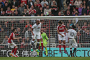 Watford have a header in on the Middlesbrough goal during the Premier League match between Middlesbrough and Watford at the Riverside Stadium, Middlesbrough, England on 16 October 2016. Photo by Mark P Doherty.