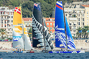 SAP, Emirates Team New Zealand and Gazprom,  Day three of the Extreme Sailing Series Regatta at Nice. 4/10/2014