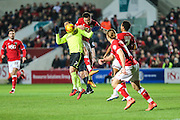 Bristol City striker, Lee Tomlin (9) and Brighton central midfielder, Beram Kayal (7) challenge for the ball during the Sky Bet Championship match between Bristol City and Brighton and Hove Albion at Ashton Gate, Bristol, England on 23 February 2016. Photo by Shane Healey.