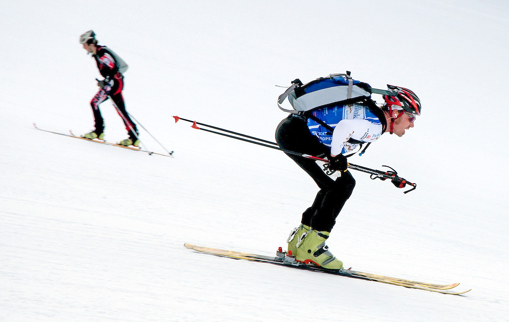 NEWS&GUIDE PHOTO / PRICE CHAMBERS.With others still skinning to the top of Apres Vous, Troy Barry speeds down the Upper Werner run during the U.S. Ski Mountaineering National Championship on Saturday at Jackson Hole Mountain Resort. Barry finished in 16th place with a time of 2:28.44.