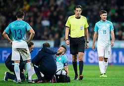 Bostjan Cesar of Slovenia injured during football match between National teams of Slovenia and England in Round #3 of FIFA World Cup Russia 2018 Qualifier Group F, on October 11, 2016 in SRC Stozice, Ljubljana, Slovenia. Photo by Vid Ponikvar / Sportida