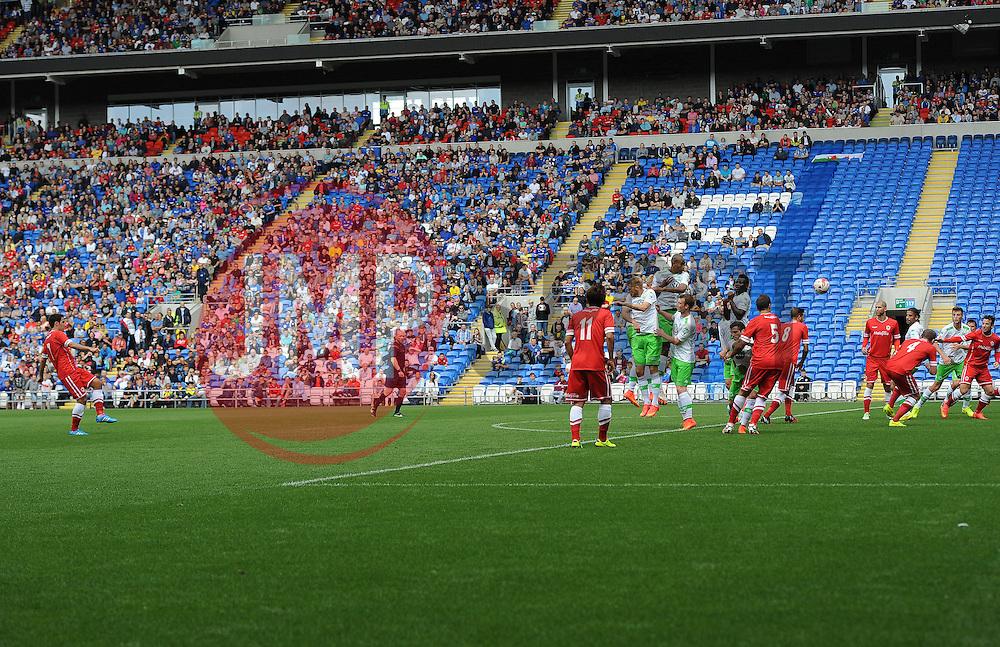 Cardiff City's Peter Whittingham scores a free kick - Photo mandatory by-line: Joe Meredith/JMP - Mobile: 07966 386802 02/08/2014 - SPORT - FOOTBALL - Cardiff - Cardiff City Stadium - Cardiff City v VfL Wolfsburg - Pre-Season Friendly