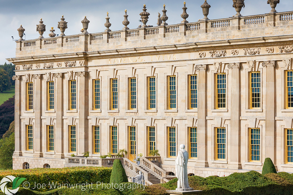 Chatsworth House, Derbyshire. The property has recently undergone a £14 million restoraton project, including cleaning and replacing  the limestone exterior.