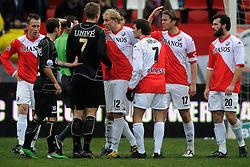 05-12-2010 VOETBAL: UTRECHT - HEERENVEEN: UTRECHT<br /> FC Utrecht wint met 2-1 van Heerenveen / Opstootje met Viktor Elm, Oussama Assaidi, Frank Demouge en Alje Schut<br /> ©2010-WWW.FOTOHOOGENDOORN.NL