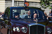 © Licensed to London News Pictures. 04/06/2013. Westminster, UK. HRH The Duke of Edinburgh Prince Phillip is driven along the Mall today 4th June 2013. Photo credit : Stephen Simpson/LNP