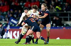Sarah Hunter (c) of England is tackled - Mandatory by-line: Robbie Stephenson/JMP - 04/02/2017 - RUGBY - Twickenham - London, England - England v France - Women's Six Nations