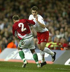 CARDIFF, WALES - WEDNESDAY FEBRUARY 9th 2005: Wales' Sam Ricketts and Hungary's Laszio Bodnar during the International Friendly match at the Millennium Stadium. (Pic by Jason Cairnduff/Propaganda)